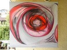 SALES Spiralbewegung, 100x100cm, Mischtechnik Acryl/Öl by manuwa