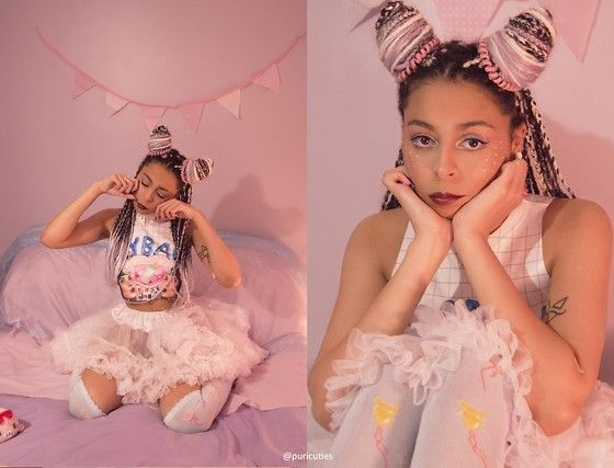 Get this look: http://lb.nu/look/7945446  More looks by Shady Kleo: http://lb.nu/shadykleo  Items in this look:  Happy Monday Crybaby Top, White Tutu Skirt, Pastel Teddy & Balloon Socks, Primark Spiral Hairbands, Sugar Coated Sprinkles Choker   #alternative #kawaii #pastel #crybaby #tutu #ootd #fashion #fbloggers #style