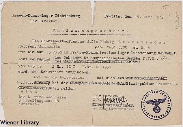 Document: release permit from (Entlassungsschein) from all-female concentration camp Lichtenburg in Saxony-Anhalt, 13 March 1939.