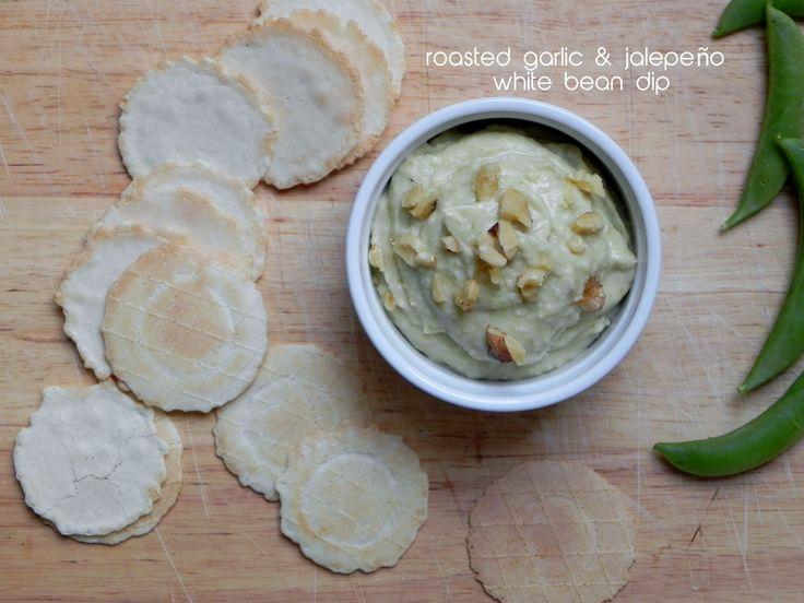 Roasted.garlic and jalapeño white bean dip