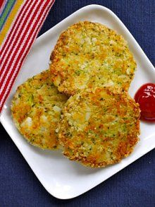 Broccoli Cheese Patties   Weelicious       1 russet potato, peeled and cubed      1 cup broccoli florets      1/2 cup cheddar cheese, shredded      3 tablespoons panko or bread crumbs      1/2 teaspoon salt      1 large egg      1/8 teaspoons garlic powder      1/8 teaspoons onion powder      1/2 cup panko or bread crumbs      1 tablespoon canola or vegetable oil