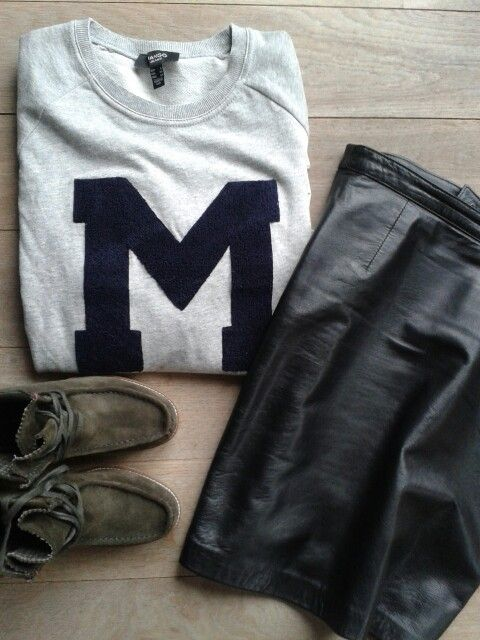 Leather, suede and grey basic ♡
