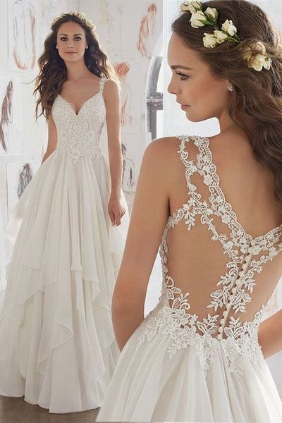 See Through Backless V-Neck Lace Appliques Sequins Beaded Tulle Chiffon Custom Bridal Wedding Gowns from lass