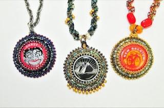 Bezeled Bottle Cap Pendant by Kelly Angeley.  Peyote bezel-set caps with seed beads