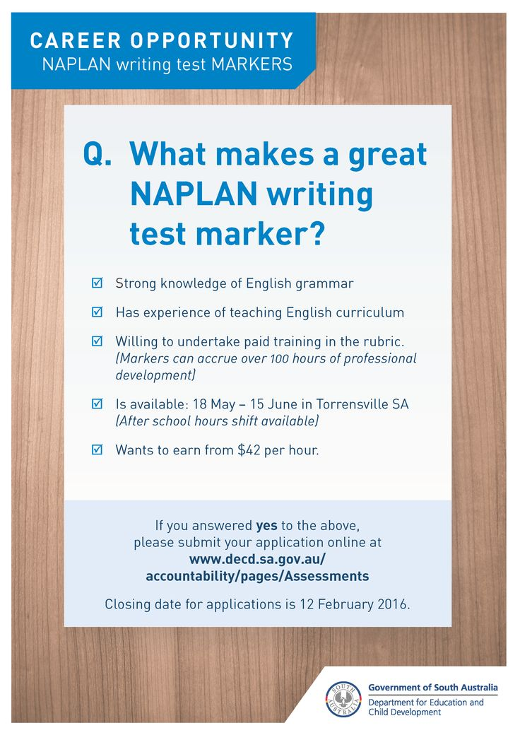 Become a NAPLAN writing test marker! Earn from $42 per hour and gain over 100 hours professional development.  Two shifts are available; Day (9am-3.30pm) and Evening (4pm-9pm). Training is scheduled for 14-15 May 2016, and marking will start 18 May 2016 for up to 4 weeks. Closing date for applications is 12 Feb 2016. English and literacy teachers with excellent grammar preferred. Apply now! http://bit.ly/NAPLANMarkers
