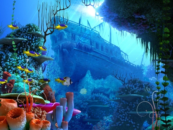 Coral reef with shipwreck in background deep blue sea for Sunken ship for fish tank