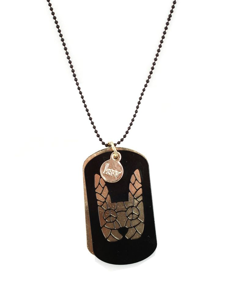 Cutout Bunny Dog Tag in Black with Gold - Karen Walker