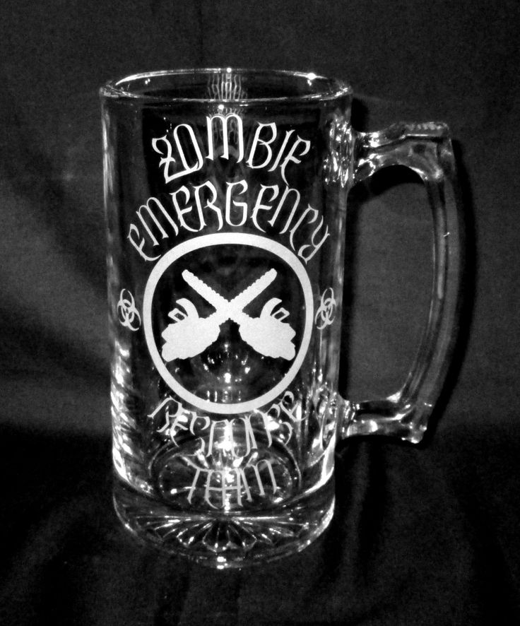 Zombie Etched Glass Beer Mug Bar Quality Emergency Response Team with Chainsaws by CronusCustoms on Etsy