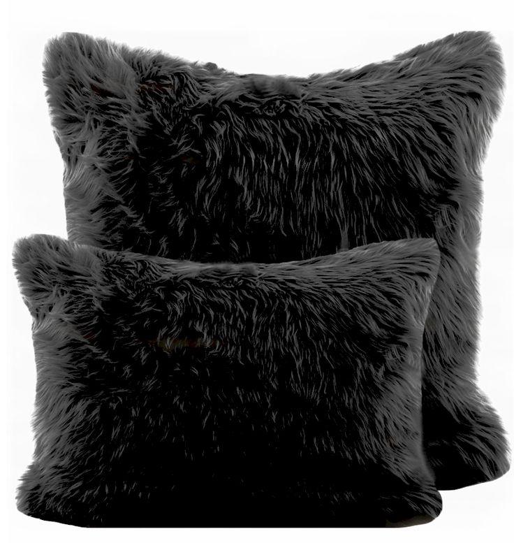 Black Faux Fur Pillow Home Pinterest Black Pillows