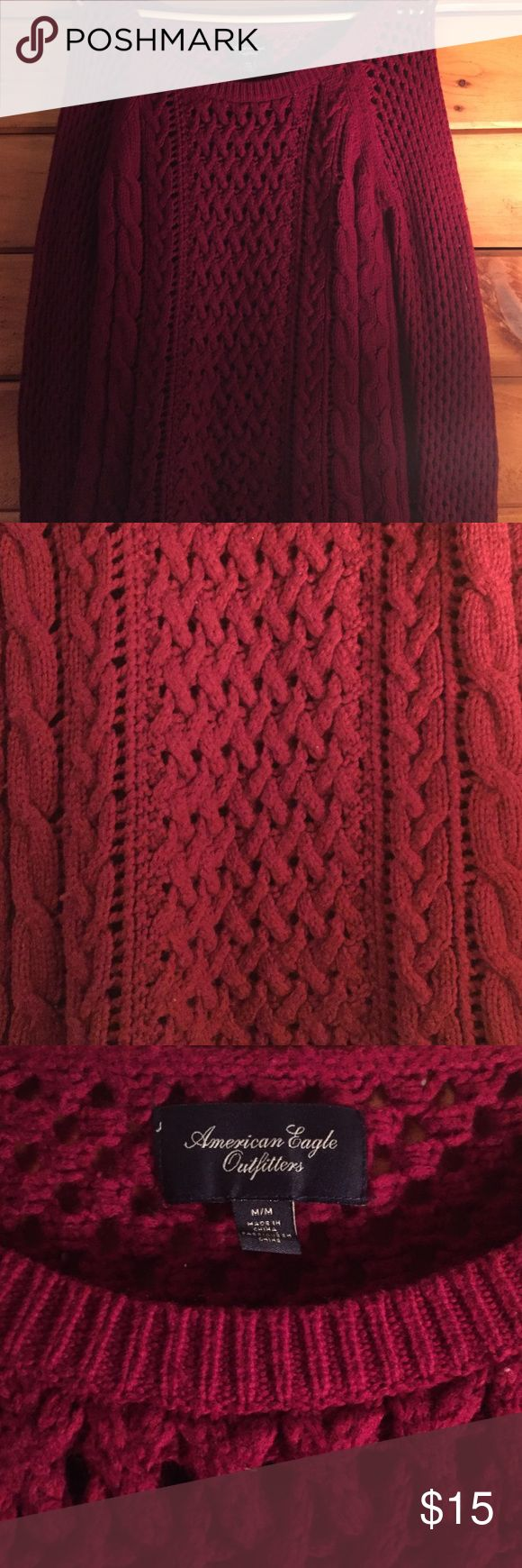 Knitted deep maroon sweater Knitted deep maroon sweater from American eagle. Super comfy and cute! Like new. Size medium American Eagle Outfitters Tops Sweatshirts & Hoodies