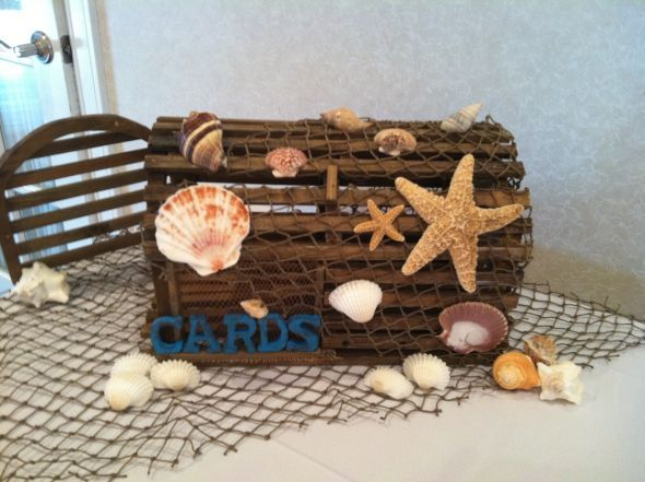 Beach Themed Card Box : wedding beach brown card box diy engagement reception sea shells teal IMG 0286