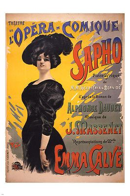 performing arts poster COMIC OPERA EMMA CALVE by jean de paleologue 24X36