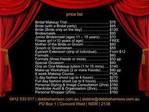Price List 2013 - Debbie Harrison - Makeup Artist
