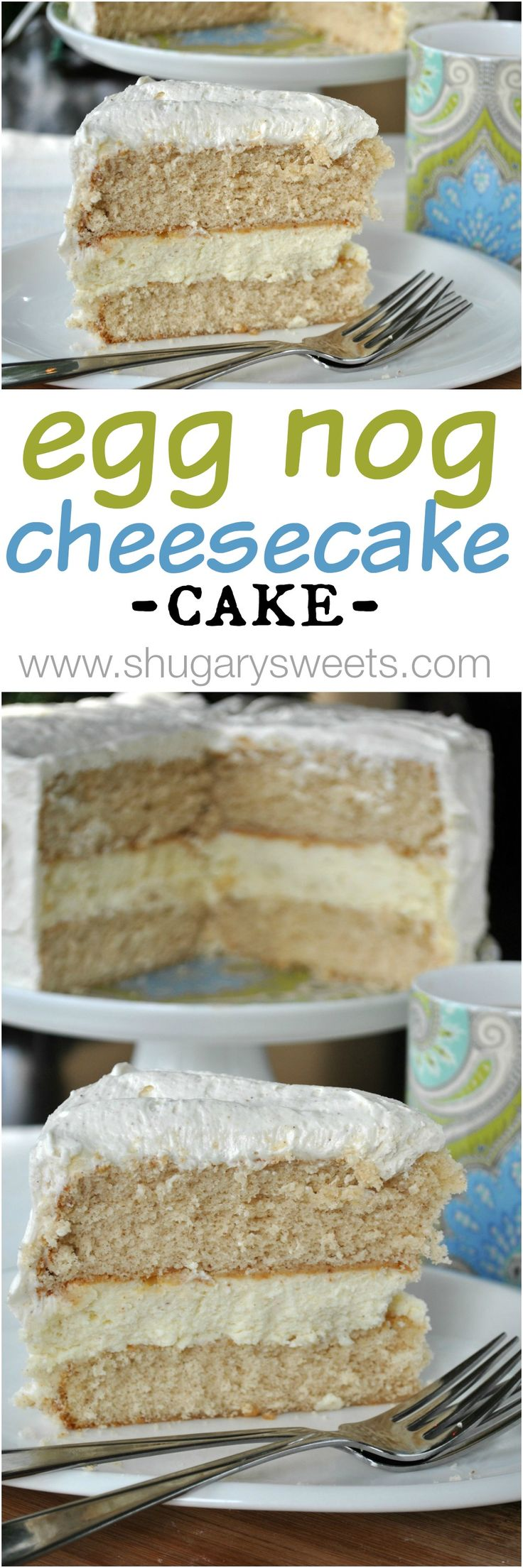 Eggnog Cheesecake Cake- two layers of spice cake (from scratch!) with a creamy layer of cheesecake topped with eggnog frosting! #cheesecake #eggnog #christmas