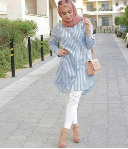 pastel shirt dress hijab- Cute hijab for teens http://www.justtrendygirls.com/cute-hijab-for-teens/