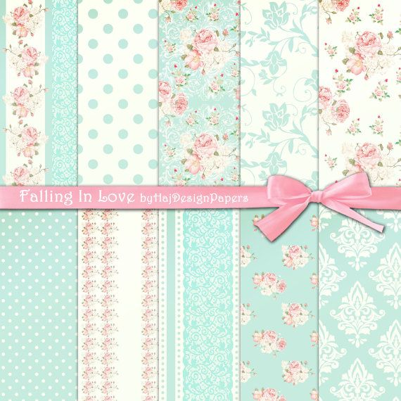 """Shabby chic digital paper : """"FALLING IN LOVE"""" pink and blue digital paper in…"""