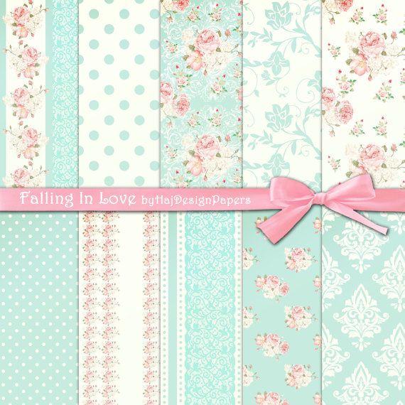 "Shabby chic papel digital: papel digital ""FALLING IN LOVE"" rosado y azul en un estilo shabby chic, papel digital de color de rosa, floral papel digital"