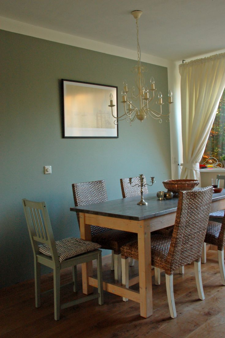 Dining room wall painted with Pigeon Farrow  Ball