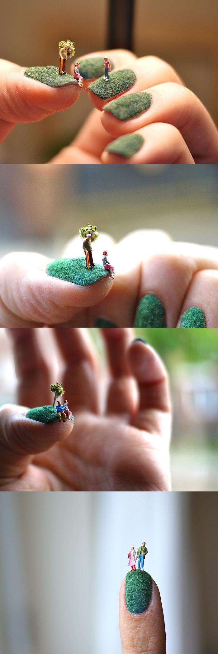 Nail Art Grass Ongle Pelouse