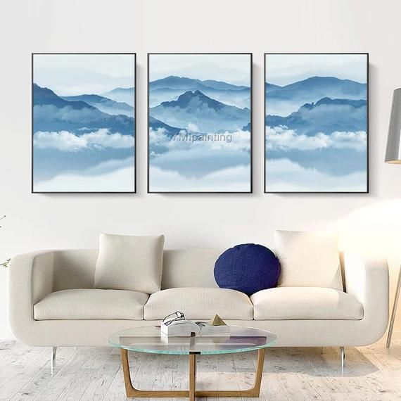 Set Of 3 Wall Art Mountain Art Framed Wall Art Cloud Paintings Etsy Abstract Canvas Painting Canvas Painting Modern Abstract Painting