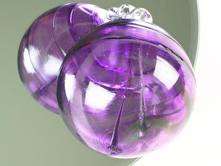 Wolf Art Glass Blown Purple Amethyst Witch Ball