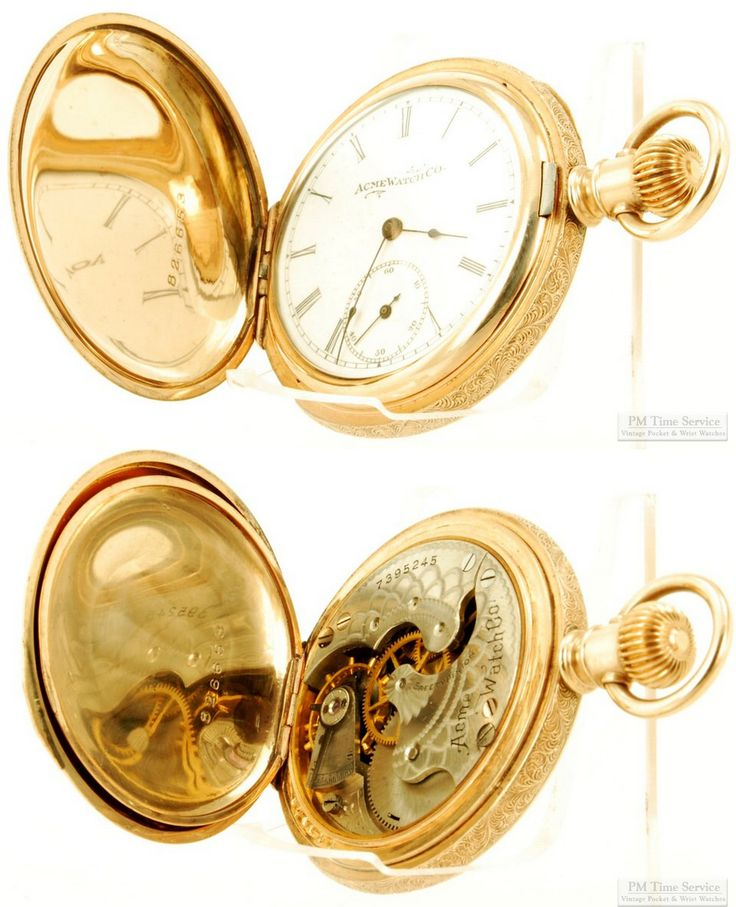 """Discounted this week on eBay is this vintage Acme (by Elgin) pocket watch, c.1897-1898, with a 6-size 7-jewel 3/4-plate movement in a heavy fully engine turned yellow gold (filled) hunting case.  It's one of over 60 vintage and modern items on sale through tomorrow (Monday) afternoon; to take a look at all the timepieces and accessories, visit our """"On Special This Week"""" category here: http://stores.ebay.com/PM-Time-Service/On-Special-This-Week-/_i.html?_fsub=6"""