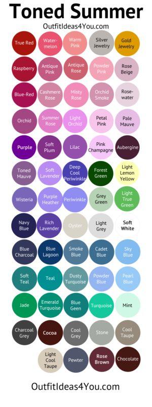 Toned Summer Color Palette (Soft Summer Light) my colors