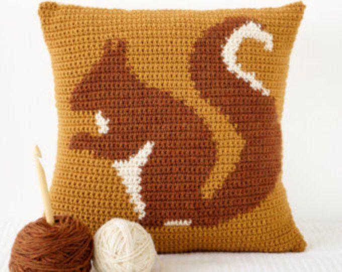 Cushion For Fall, Crochet Pattern, Squirrel Pillow, Woodland Decor, Single Crochet, Cascade 220, Aran Weight, Worsted Yarn, Intarsia Crochet