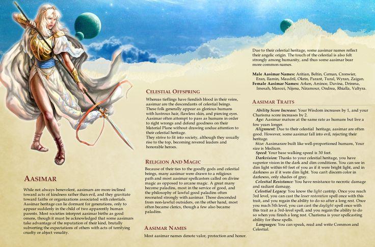 Dungeons and Dragons 5e ~ Race Design ~ Aasimar by CurseOfPharaoh.deviantart.com on @DeviantArt