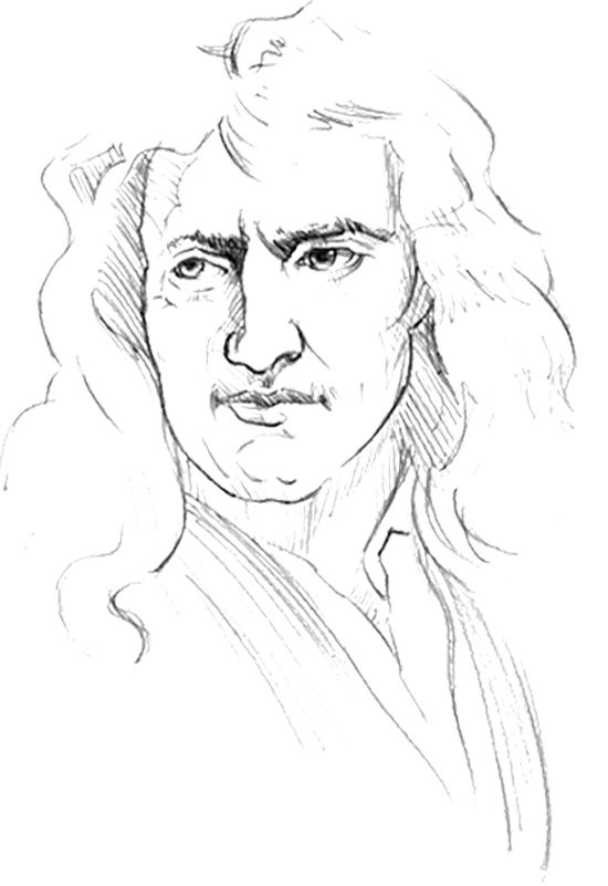 Sketch Face Isaac Newton Coloring Page Kids Coloring