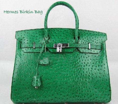 Hermes Birkin green ostrich bag.