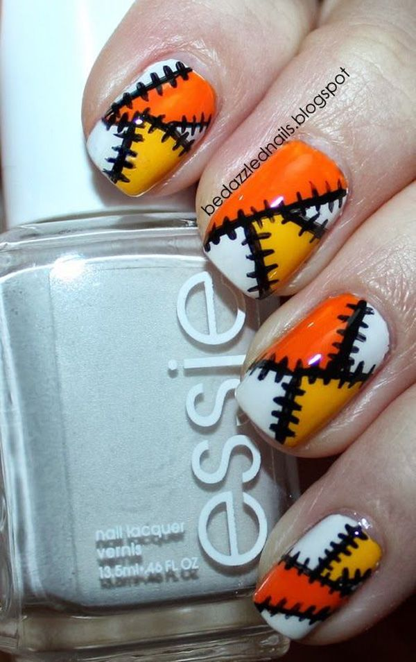 Stitch line inspired Halloween nail art. Paint on dark and bold stitch lines on your nails that sew together different colors.
