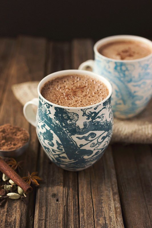 Chai dairy-free hot chocolate made with unsweetened coconut milk