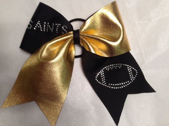 New Orleans Saints cheer bow, gold metallic on black w rhinestone football. on Etsy, $12.00