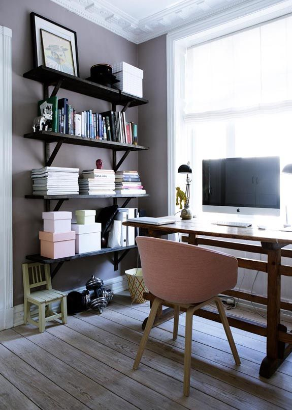 Home Office (desk in front of window) -could do in Meagan's room and have the bookcase between the windows so the Murphy bed comes down