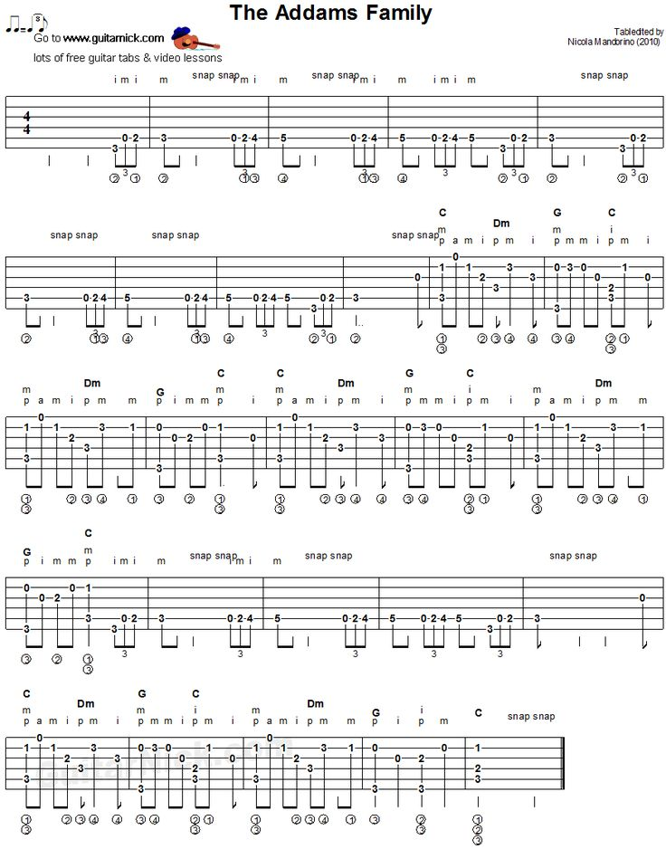the addams family fingerstyle guitar tablature sheet music pinterest tablature the. Black Bedroom Furniture Sets. Home Design Ideas