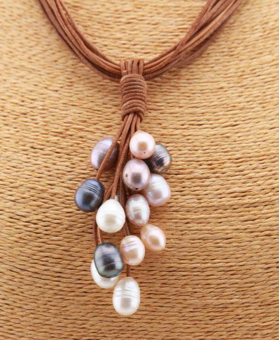 Collana perle d'acqua dolce di cuoio di tongtongpearls su Etsy