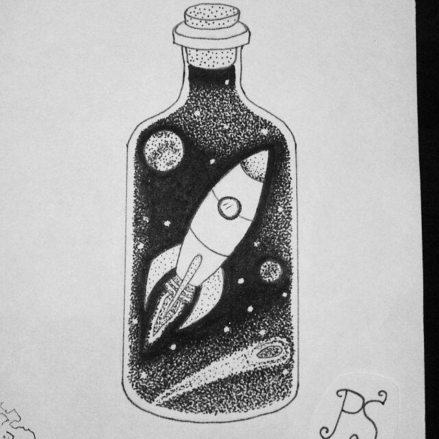 #тату #татуировка  #татуэскиз #эскиз #дотворк #графика #чб #космос #ракета #бутылка #вбутылке  #tattoo #tattoosketch  #sketch #dotwork #graphic #bw #space  #rocket #bottle