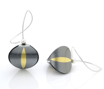 "Jayne Redman: Chinese Lantern, Earrings in oxidized sterling silver, 24k gold keum-boo, and sterling silver ear wires. 1.25"" in length."