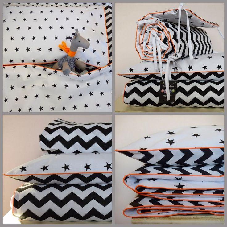COTTON Cot Bed Duvet Cover Set & Bumper fitted sheet Black Chevron Stars orange