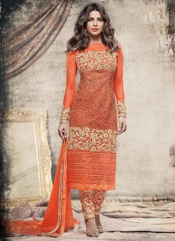 Priyanka Chopra Orange Net Salwar Suit Fashion ,Indian Dresses - 1