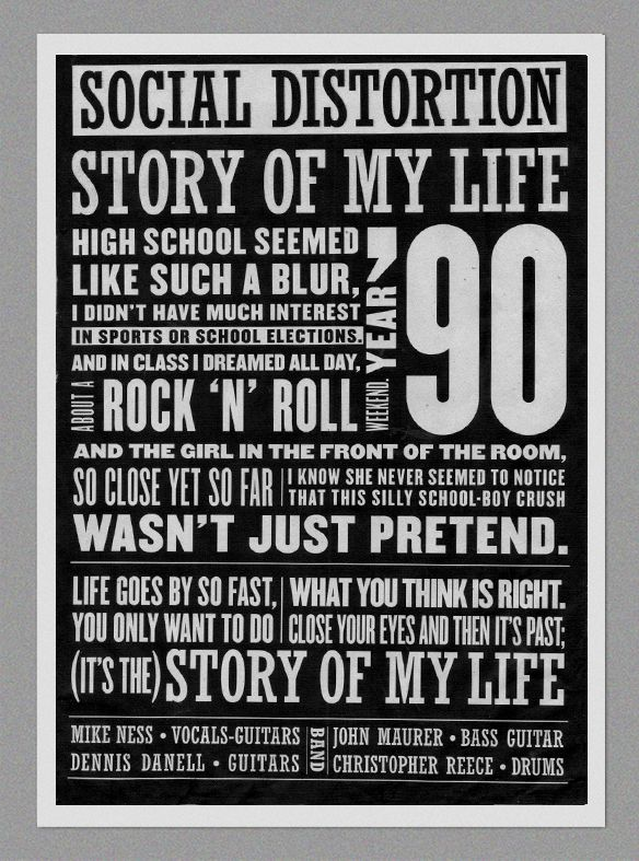 Story of my Life - Social Distortion by Matias Chilo, via Behance