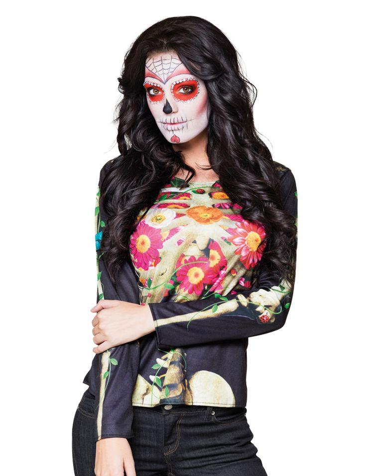Camiseta manga larga esqueleto Día de los Muertos: Esta camiseta para mujer es negra y de manga larga.El estampado de la parte delantera es de esqueleto con flores.La espalda es de color negro.Prepárate para tus fiestas de disfraces Día...