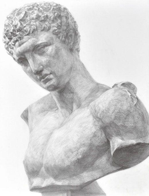 生徒作品 ヘルメス 石膏像 デッサン Plaster figure dessin drawing
