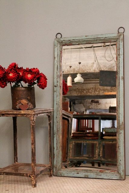 Distressed Blue Turquoise Antique Indian Wood Large Mirror on Etsy, $499.00
