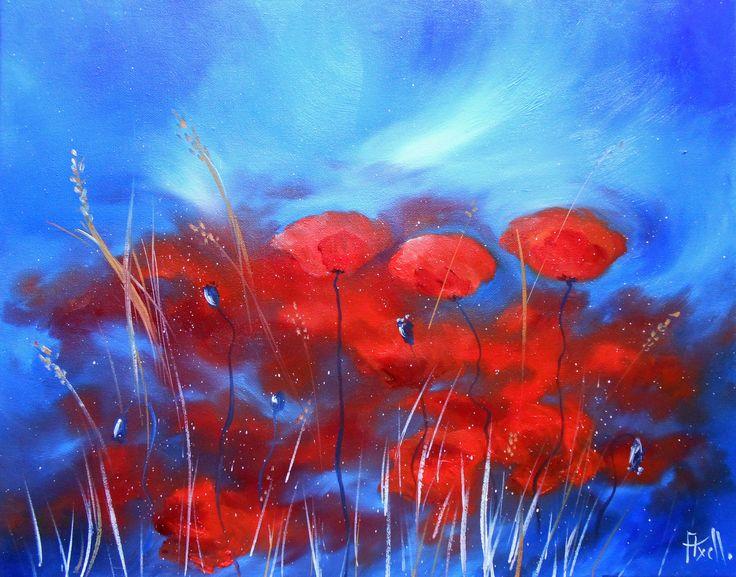 Tableau Coquelicots dans le vent fond bleu @peintures-axelle-bosler : Peintures par peintures-axelle-bosler