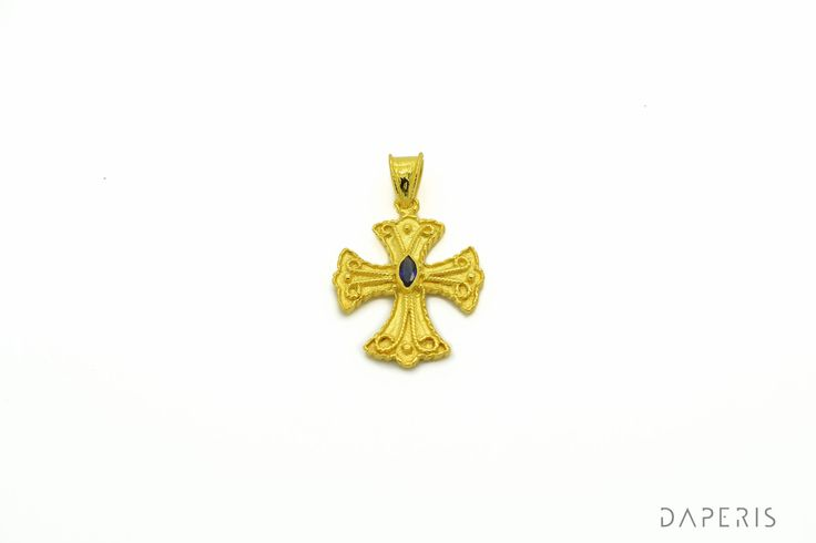 Byzantine Cross Pendant- Sapphire,925 Sterling Silver, 22K Gold Plated.High Quality Handmade product. by DAPERIS on Etsy