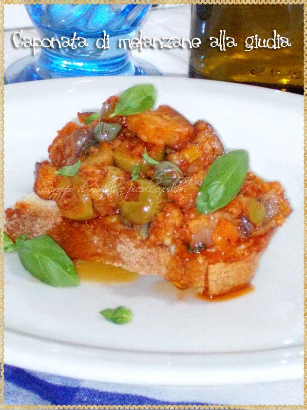 Caponata di melanzane alla giudia (Eggplant caponata to giudia. Recipe of traditional Jewish-Roman)