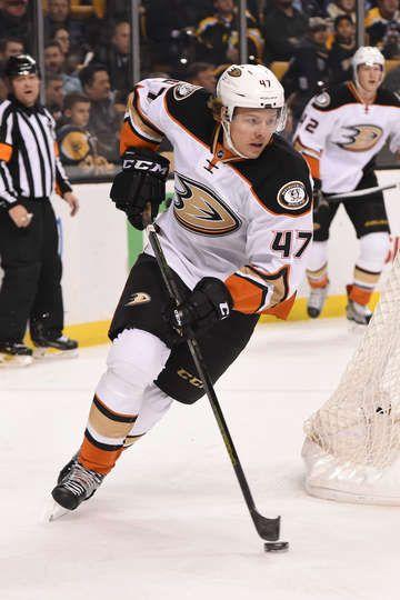 Hampus Lindholm #47 of the Anaheim Ducks skates against the Boston Bruins at the TD Garden on December 15, 2016 in Boston, Massachusetts.