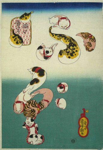 Utagawa Kuniyoshi (Japanese Ukiyo-e Printmaker, ca.1797-1861) / Cats forming the caracters for puffer fish (fugu), from the series Cat Homophones (Neko no Ateji)